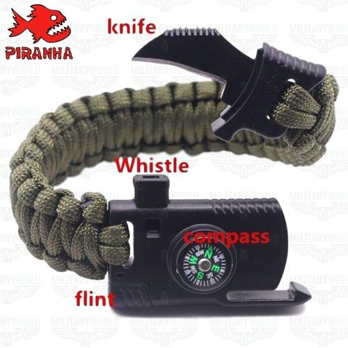 Bracelet de survie en paracorde militaire vert 5 en 1, couteau, sifflet,  boussole, briquet, corde de sauvetage