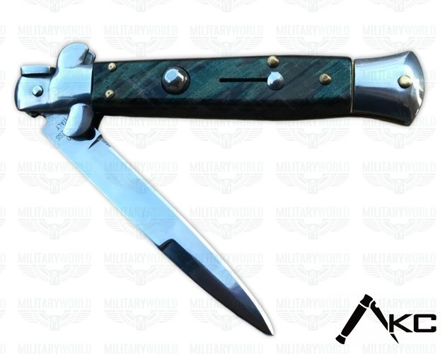 Automatic Italian stiletto knife (Il Padrino) handle in steel and dark  green veined polymer cm  24